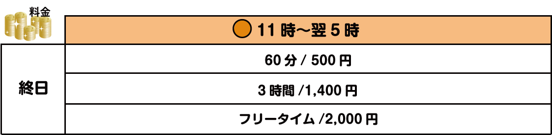 玉島店の卓球料金表