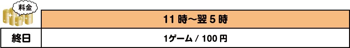 玉島店のストラック9料金表